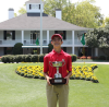 Holding DCP trophy at Augusta National